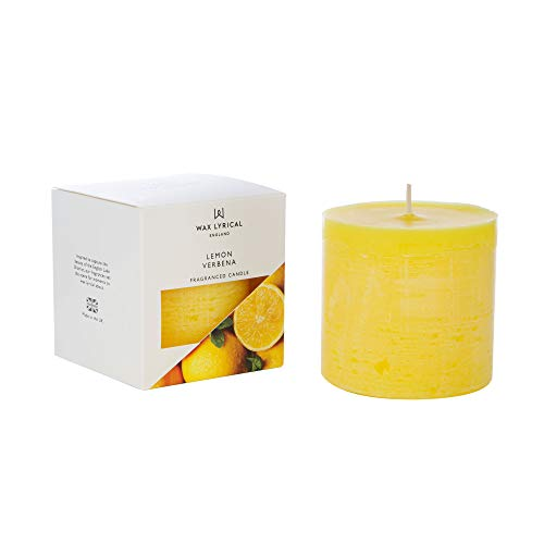 WAX LYRICAL Scented Pillar Candle, Lemon Verbena. Burn Time Approx 60 Hours