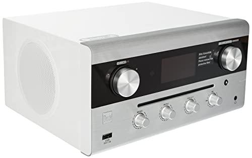 Radio ibrida di design, CD, USB, MP3, radio DAB+, AUX-IN, radio FM, streaming musicale, Spotify, Amazon Music, impianto stereo, display OLED, HIFI • ingresso per cuffie, bianco • Dual CR 900 Phantom