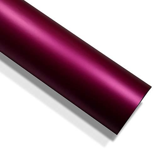 folimac 10 €/m² Rosa - Rot Chrom Matt Metallic Autofolie Blasenfrei mit Luftkanäle (15meter x 152cm)