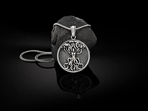 Silver Celtic Tree Of Life Mens Pendant, Oxdized Celtic Man Necklace, Yggdrasill Silver Mens Charm, Solid Silver Tree of Life Gift Medallion