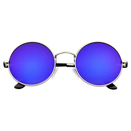 Emblem Eyewear - Premio Cerchio Specchio Specchio in Metallo Completo Di Occhiali Da Sole Rotondi (Viola)