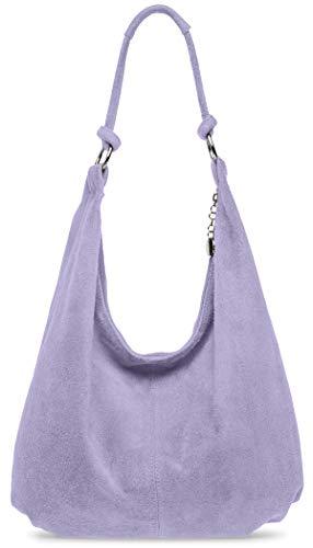Caspar TL617 große Damen Vintage Veloursleder Tasche, Farbe:flieder