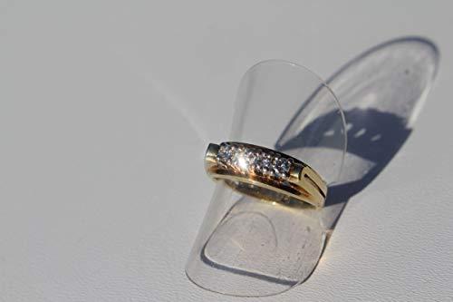 vintage13.de.de - Anillo de Oro 585 con 3 Diamantes Brillantes de Aprox. 0,3 Quilates, Talla 52