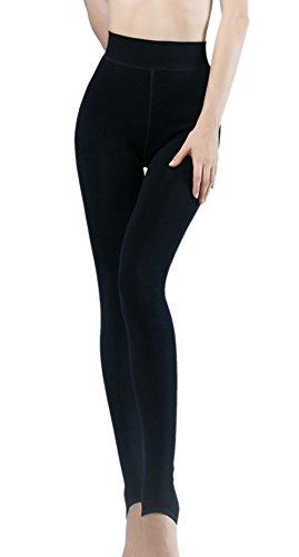 Leggings Ueither elásticos con forro polar interior térmico de invierno, de suave tacto aterciopelado, medias de cintura alta y cálidas
