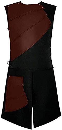 Marciay Schwere Römische Gladiator Lederrock Kostüm Schwarz Schürze Messing Armaturen Gürtel Cosplay Mode Living Rüstung Für Männer (Color : Armor 3, Einheitsgröße : XL)