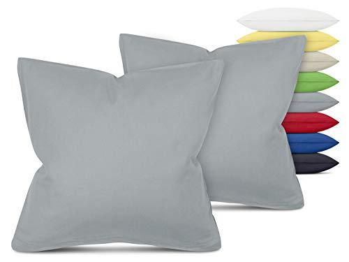 Unifarbene Kissenbezüge im Doppelpack - in 8 Farben und 3 Größen - Moderne Wohndekoration in dezentem Design, ca. 40 x 40 cm, hellgrau