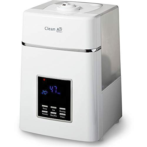 Clean Air Optima CA-604, Humidificador de aire con ionizador ultrasónico, 6L, 55m2, 38W, <25dB, Blanco