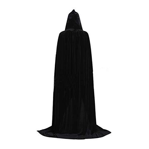 GAOU - Mantello lungo in velluto con cappuccio, per Halloween, feste e cosplay Nero