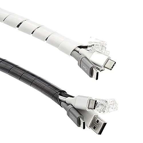 AmazonCommercial - Organizador de cable en espiral, 2,5m, blanco y negro (2...