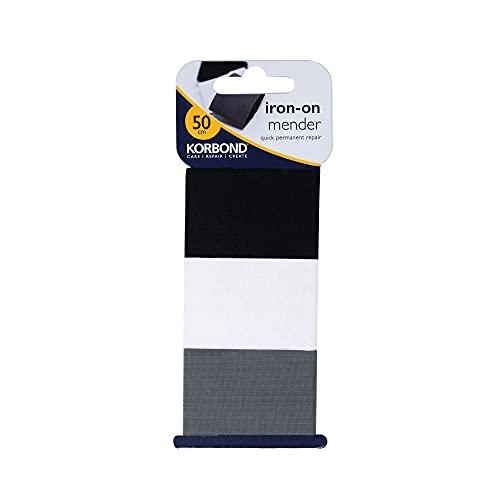 KORBOND Nastro termoadesivo per rammendi Invisibili permanenti su Vestiti, Confezione da 3, ognuno da 3,8 x 50 cm (Totale 1,5 m), Colore: Nero/Bianco/Grigio, 50 x 3.8 Centimeters