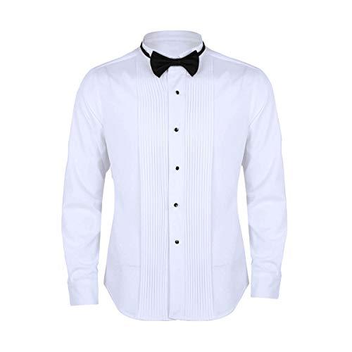 iixpin Camisa Manga Larga Blanca de Esmoquin Hombre Blusa Slim Fit con Corbata Cuello de ala Frontal Puño Francés Lazo Gentlemen Camisa para Trabajo