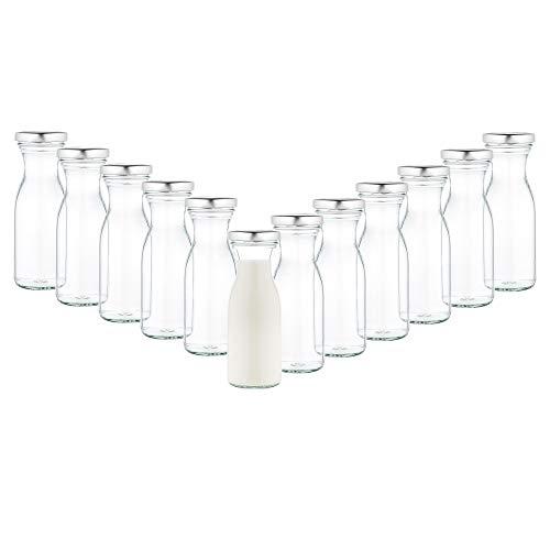 MamboCat 12er Set Milchflaschen 250 ml + Twist-Off Deckel TO53 Silber I Karaffe I Deko-Vase I Vorratsglas klein I Trinkflaschen I Saftflasche I Aufbewahrungsgläser