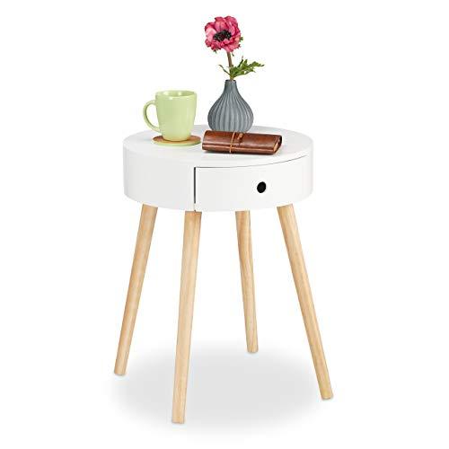 Relaxdays Bijzettafel rond, lade, Scandinavisch design, salontafel of nachtkastje, HxØ: 52 x 40 cm, hout, wit