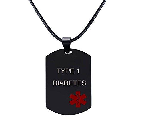 XUANPAI - Collar con Colgante de identificación de Alerta médica de Acero Inoxidable con Grabado Personalizado para Hombre y Mujer