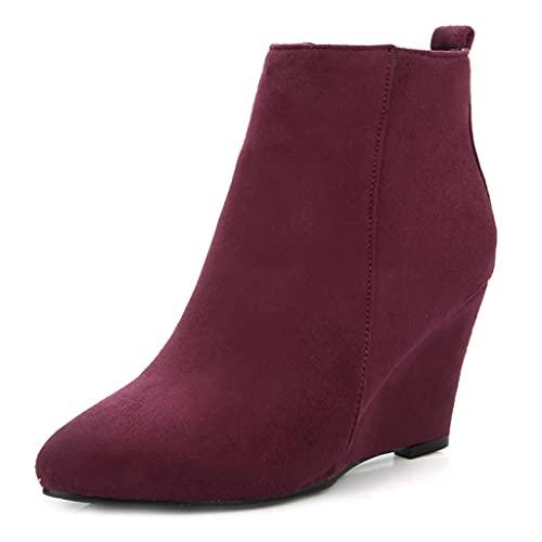 MIOKE Women's Round Toe Wedge Ankle Boots Elastic Side Panel Chunky Hidden Heel Booties Dressy Short Boot