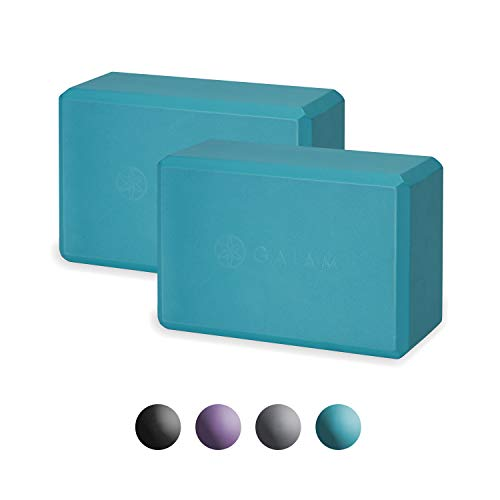 Gaiam Essentials Yoga Block (Set of 2) - Supportive Latex-Free EVA Foam Soft Non-Slip Surface for Yoga, Pilates, Meditation, Vivid Blue