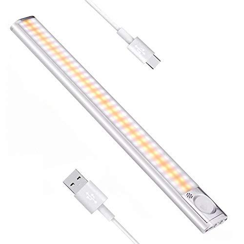 160 LED Luce Sensore Movimento Armadio, Luci Cucina Lampada Notturna Wireless, LED Magnetica USB Ricaricabile Luce, 4 Modalità, 3 Luminosità, Guardaroba, Corridoio, Scale