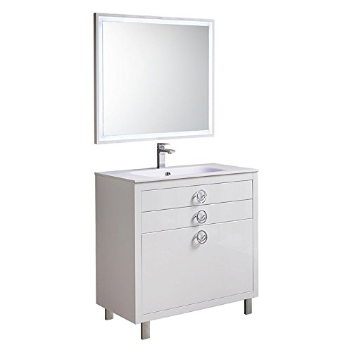Fresca Platinum Due Glossy White 36-inch Bathroom Vanity