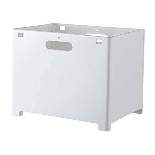 Wall-Mounted Plastic Laundry Basket, Punch-Free Portable Clothes Storage Basket for Bathroom Toilet, Organizer Box for Car, Foldable Laundry Hamper - White L