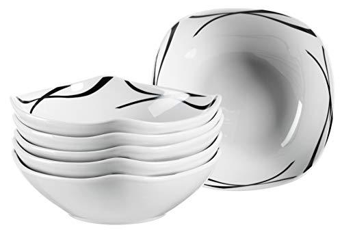 Mäser 991367 Serie Oslo, Müslischalen 6er-Set, Müslischüsseln, klassisch, zeitlos, elegant, Porzellan, schwarz-weiß