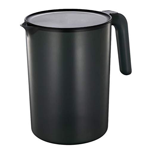 Hemoton - Jarra de plástico con tapa (2500 ml), color negro