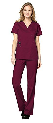 WonderWink WonderWORK Women's Medical Uniforms Scrubs Set Bundle- 102 Mock Wrap Scrub Top & 502 Flare Leg Drawstring Scrub Pants & MS Badge Reel (Wine - X-Large/XL Tall)