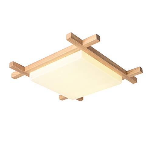 Geen band Vierkante Plafondlamp, 24 W Led Plafondlampen met houten rand, Dimbare Badkamer Plafond Lamp voor Slaapkamer 409