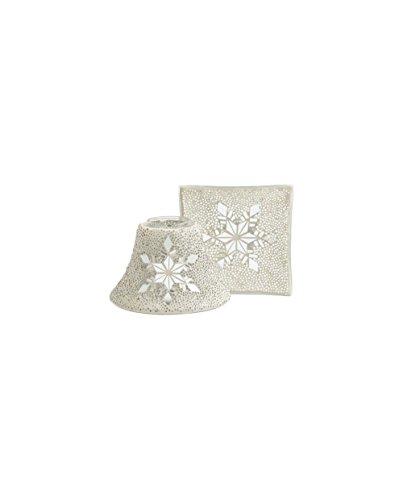 YANKEE CANDLE Twinkling Snowlake - Paralume grande e piatto, in vetro, multicolore, 24 cm