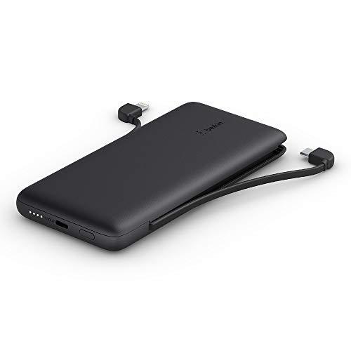 Belkin BoostCharge Plus 10K tragbares Ladegerät und Powerbank (10.000 mAh mit integriertem Lightning- und USB-C-Kabel und zusätzlichem USB-C-Ladeanschluss für iPhone13, AirPods, iPad etc) – Schwarz