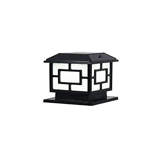 Aaedrag Faro Solar Impermeable LED carácter Chino Columna Columna Columna Faros al Aire Libre Poste luz Ruta Solar Luces Villa residencial Patio Patio lámpara (Color : Negro, tamaño : Small)