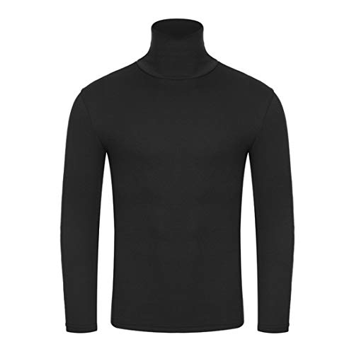Men T-Shirt Men T-Shirt Spring and Autumn High Collar Comfortable Slim Fit Long Sleeved Solid Color Simple Classic Basic Gentleman Men Tops D-Black M