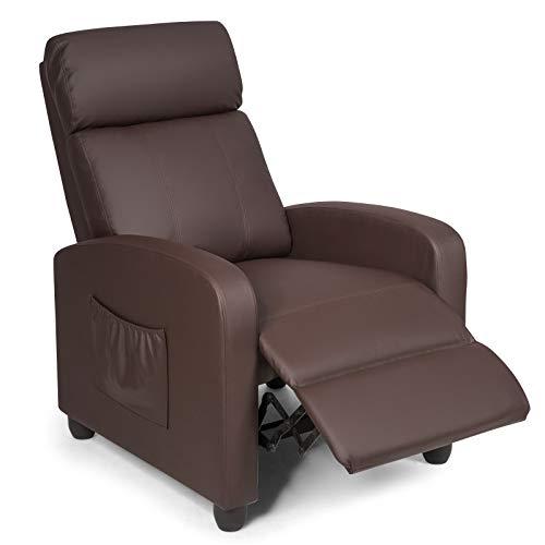 GOPLUS Relaxsessel mit Liegefunktion, Fernsehsessel mit Verstellbarer Rückenlehne & Fußstütze, Ruhesessel mit Seitentasche, Liegesessel mit Kunstleder-Bezug, Gepolstert, für Wohnzimmer (Braun)