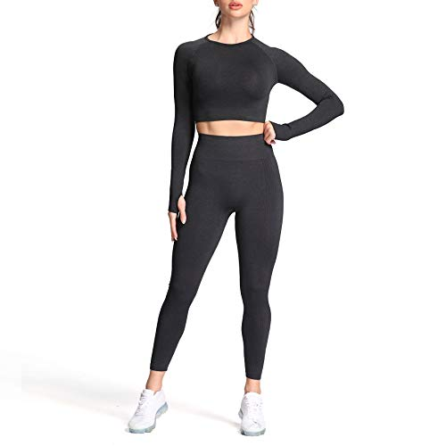 Aoxjox Yoga Outfit for Women Seamless 2 Piece Vital Workout Gym High Waist Leggings with Long Sleeve Crop Top Set (Black Marl, Small)