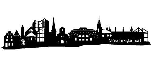 Samunshi® Wandtattoo Mönchengladbach Skyline Wandaufkleber in 6 Größen und 19 Farben (120x27cm schwarz)