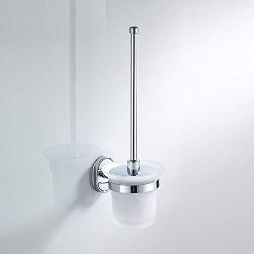 Spazzolone Scopino WC Supporti di Spazzola in Acciaio Inossidabile Fissato al Muro Durevole Holder Type WC Spazzola con Il Supporto di Tazza di Vetro Classic Chrome spazzole per WC