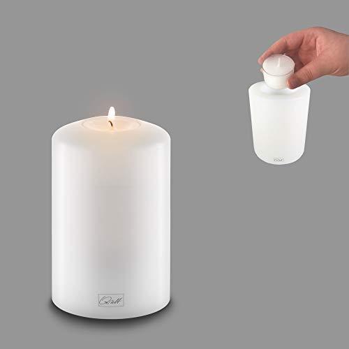Qult Farluce Classic - ø 8cm • Teelichthalter in Kerzenform • Dauerkerze • Kunststoffkerze in Kerzenoptik • Teelichtkerze mit Teelichteinsatz • inkl. Teelicht, Höhe:12cm