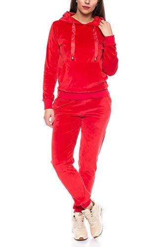Crazy Age Damen Anzug Freizeit Sport Alltag | Samt Nicki Velvet | Kuschelig Sportlich Elegant | XS - XL (Rot, M)