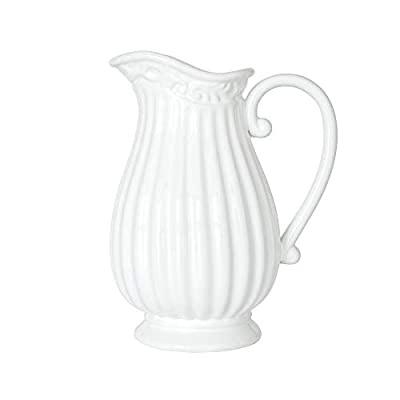 D'vine Dev 10 Inch White Ceramic Pitcher Vase for, Home Décor, Fresh Bouquets with Design Box Packaged