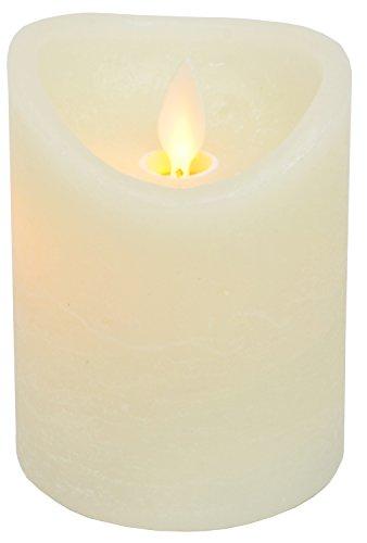 CHICCIE LED Echtwachs Kerze - 10cm x 7,5cm - Beige Elfenbein Creme Marmoriert - Flammenlos mit Zeitschaltuhr - Flacker Technik Timer Batterie betrieben