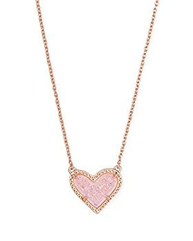 Kendra Scott Ari Heart Adjustable Length Pendant Necklace for Women Fashion Jewelry 14k Rose Gold-Plated Pink Drusy