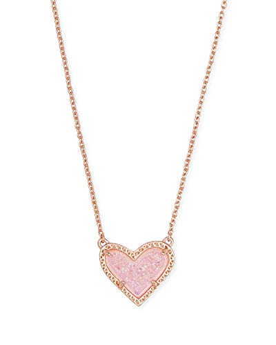 Kendra Scott Ari Heart Adjustable Length Pendant Necklace for Women, Fashion Jewelry, 14k Rose Gold Plated, Pink Drusy