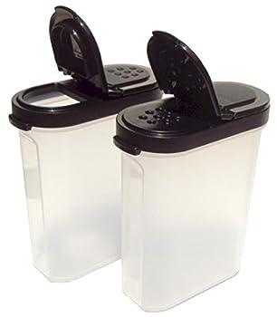 Tupperware Modular Mates Spice Shakers Set of 2 Black Seals 1 Cup Capacity