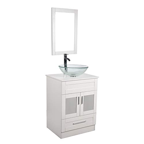 24 Inches Traditional Bathroom Vanity Set Single White Cabinet and Glass Vessel sink 1 Large Sliding Drawers and 2-Door Pop-up Drain Faucet