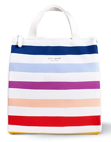 Kate Spade New York Portable Soft Cooler Lunch Bag with Silver Insulated Interior Lining and Storage Pocket Candy Stripe