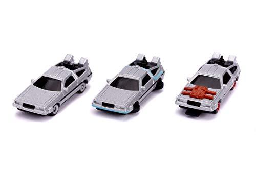 Jada Toys 253251002 Back to The Future 3-Pack Nano Sammelautos, Time Machine 1-3, 4 cm, ab 3 Jahren