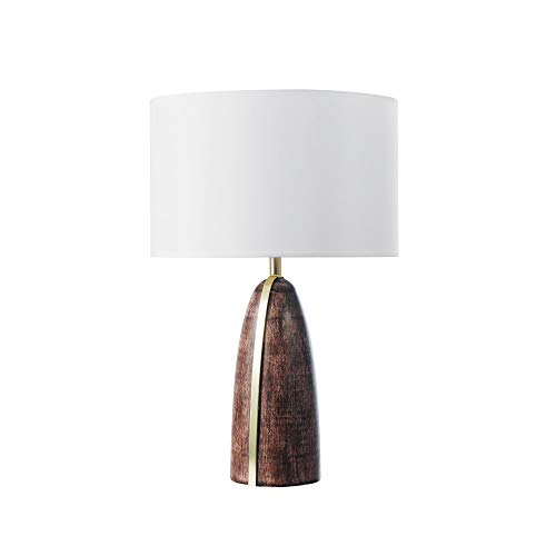 Novogratz x Globe Scotti 25u0022 Table Lamp, Faux Wood Finish, Gold Accent Line, White Fabric Shade, Socket Rotary Switch