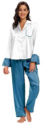 SHEKINI Damen Klassische Zweiteiliger Schlafanzug mit Hose Nachthemd Nachtwäsche Pyjama Sleepwear 1727(silber/petrol,L)