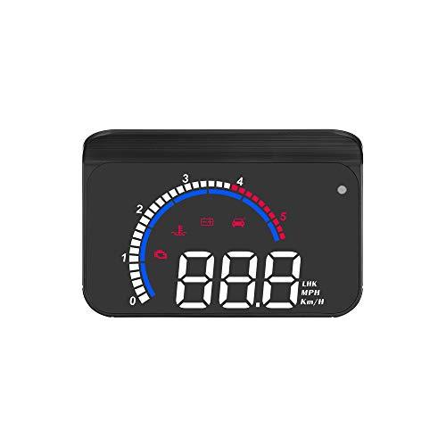 Lechnical HUD Display Coche, Pantalla HUD para Automóvil, Proyector de Parabrisas con Pantalla Frontal, Velocidad, Reloj Digital, Advertencia de Exceso de Velocidad, Medición de Kilometraje