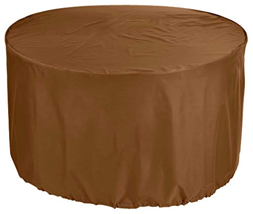 YULIAN kbPremium Tarpaulin Round Garden Table Cover Ø 280x80 cm Outdoor Daybed Cover Outdoor Furniture Cover Table and Chair Dust Cover Waterproof Round Patio Table Cover 600D Oxford Fabric Cafe L.