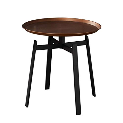 H-CAR Sofa Table,End Side Tables, End Table Living Room Sofa Side, With Tray Wrought Iron Round Side Table, 48.5 * 48.5 * 50 CM Snack Table (Color : Copper)